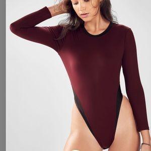 Fabletics Long Sleeve Open Back Maroon Bodysuit M